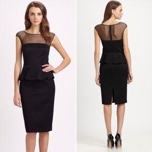 Net David Meister Sheer Paneled Peum Dress Black
